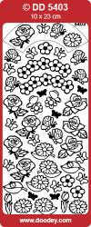 Stickervel zilver bloemen DD5403 (Locatie: A213)