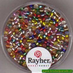 Rayher rocailles 2 mm ass. met zilverdetail 17 gr. 1406449 (Locatie: K3)
