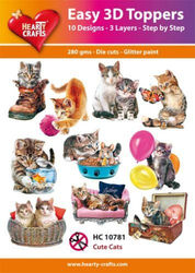 Hearty Crafts Easy 3D Toppers Cute Cats HC10781 (Locatie: K2)