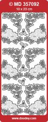 Stickervel zilver blaadjes MD357092 (Locatie: e112)