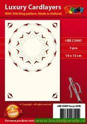 Doodey oplegkaarten met borduurpatroon A6 circel 3 stuks ivoor BEC5907 (Locatie: K046)