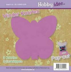 Hobby Idee vlinder kaart lila en creme envelop 3 stuks HI-10563-003 (Locatie: R026)