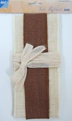 Joy Crafts jute ribbon set ivory-brown-ivory 6300 0503 (Locatie: )