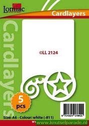 Lomiac oplegkaarten kerstkrul en ster ivoor 5 stuks LL 2124 (Locatie: N099 )