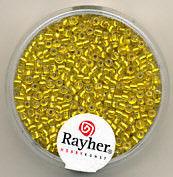Rayher rocailles 2 mm geel met zilverdetail 17 gr. 1406420 (Locatie: K3)