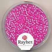 Rayher rocailles 2 mm roze met zilverdetail 17 gr. 1406433 (Locatie: K3)