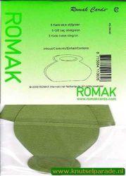 Romak cadeautasjes olijfgroen 5 stuks K5 288 60 (Locatie: 5R )