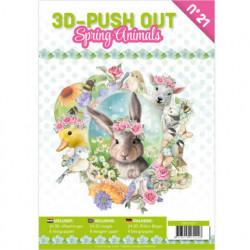 Stansboek Spring Animals, 24 afbeeldingen en 8 designpapier, 3DPO10021 (Locatie: 0431)