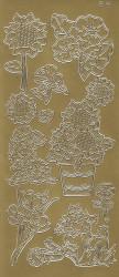 Stickervel goud bloemen 182 (Locatie: j406)