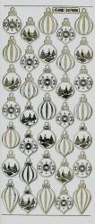 Stickervel kerstballen goud op wit MD357005 (Locatie: u037)