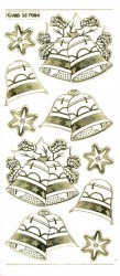 Stickervel kerstklokken transparant goud MD357084 (Locatie: U050)