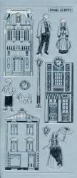 Stickervel zilver victoriaanse huisjes MD355951 (Locatie: e258)