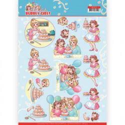 Yvonne Creations knipvel bubbly girls verjaardag CD11477 (Locatie: 1570)