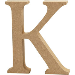 Letter K, hoogte 13 cm, dikte 2 cm, MDF, 1stuk (Locatie: KB)