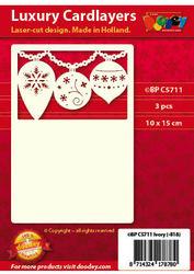 Doodey oplegkaarten kerstballen A6 ivoor 3 stuks BPC5711 (Locatie: T148)