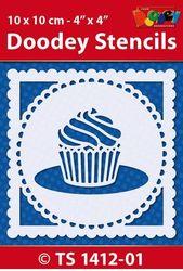 Doodey Stencil Cupcake 10 x 10 cm TS1412-01 (Locatie: 4630)