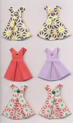 Handgemaakte origami stickers, jurkjes, 6 stuks