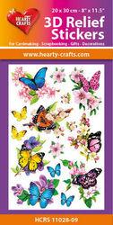 Hearty Crafts 3D Relief Stickers Butterflies HCRS11028-09 (Locatie: 1245)