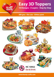 Hearty Crafts Easy 3D Toppers Eat & Drink HC10952 (Locatie: K2)