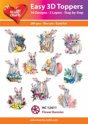 Hearty Crafts Easy 3D Toppers Flower Bunnies HC12411