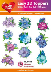 Hearty Crafts Easy 3D Toppers Flowers Blue/Violet HC9838 (Locatie: K2)