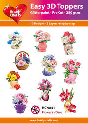 Hearty Crafts Easy 3D Toppers Flowers deco HC9855 (Locatie: K2)