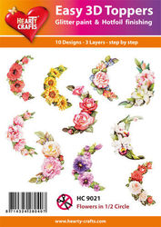 Hearty Crafts Easy 3D Toppers Flowers in 1/2 Circle HC9021 (Locatie: K2)