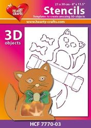 Hearty Crafts Stencil 3D Kat HCF7770-03 (Locatie: 2526)