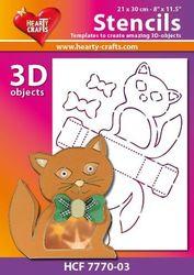 Hearty Crafts Stencil 3D Kat HCF7770-03 (Locatie: 2526)