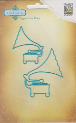 "Nellie Snellen snij- en embosmal Vintasia ""gramophone"" VIND005 (Locatie: nn291)"