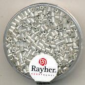 Rayher stiftkralen 2x2 mm wit met zilverdetail 16 gr. 1430122 (Locatie: 3RL5 )