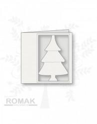 Romak dubbele kaart met kerstboom donkergroen K2-271-23 (Locatie: ll042)