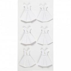 Sticker 3D wit, afm 35x31 mm, jurk, 6stuks (Locatie: 1515)