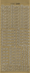 Sticker goud Engelse teksten DD2380 (Locatie: A233)