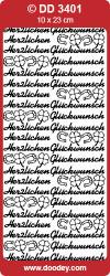 Sticker zilver Herzlichen Glückwunsch DD3401 (Locatie: NN095 )