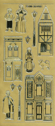 Stickervel goud victoriaanse huisjes MD355952 (Locatie: e135)