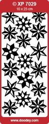 Stickervel kerststerren transparant goud XP7029 (Locatie: U052)