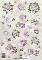 Tierelantijntje knipvel hoeden/bloemen 2321 (Locatie: 2846)