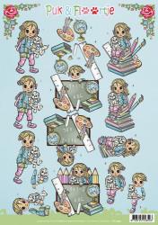 Yvonne Creations knipvel Puk & Floortje school CD10991 (Locatie: 0618)