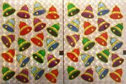 Holografische knipstickers kerstklokken 5 vel 041 (Locatie: Q003 )