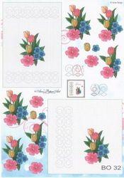Anne Design knipvel/borduren bloemen BO 32 (Locatie: 4752)