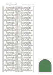 Hobbydots stickervel hartelijk gefeliciteerd glanzend groen STDMHG02 (Locatie: BB160 )