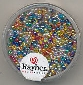 Rayher rocailles 2 mm transp. assorti 17 gr. 1406149 (Locatie: K3)