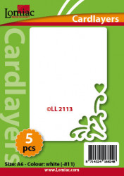 Lomiac oplegkaarten romantiek A6 wit 3 stuks LL2113 (Locatie: K109}