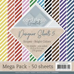 Card Deco, Paperpack, 15.2 x 15.2 cm, Stripes - Bright Colors, Mega Pack 50 vellen, CDDSM005