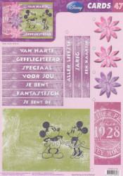 Disney Vintage - CARDS 3D Mickey & Minnie Verjaardag A4 knipvel CARDS 47 NL (Locatie: 1752)
