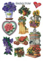 Glanssticker bloemen, A4, 3 (Locatie: 0351)