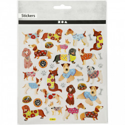 Glitter stickers, vel 15x16,5 cm, honden, 27198 (Locatie: 0212)