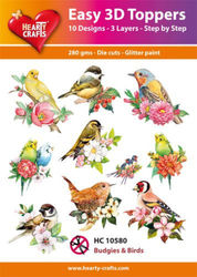Hearty Crafts Easy 3DToppers - Budgies & Birds HC10580 (Locatie: 5R)