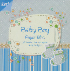 Joy! Crafts Baby Boy papierblok, 36 vel 9 designs, 15x15 cm 6011/0024